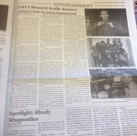 BennettKnows featured in the University of Rhode Island's 5 Cent Cigar (April 2014).