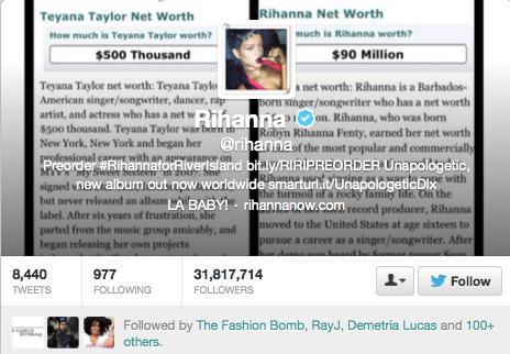 Rihanna Fires Shots At Teyona Taylor via Twitter