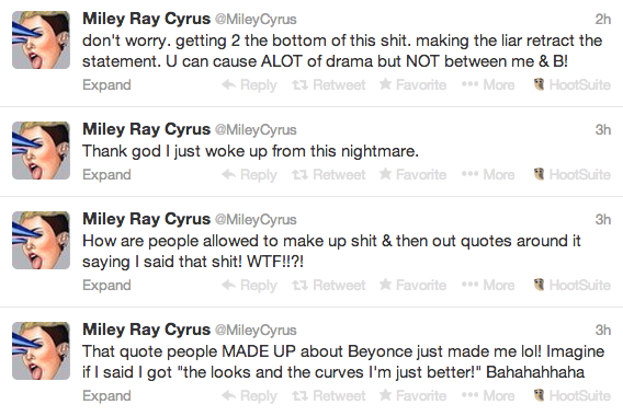 Miley Cyrus Respons To Beyonce Diss Rumors