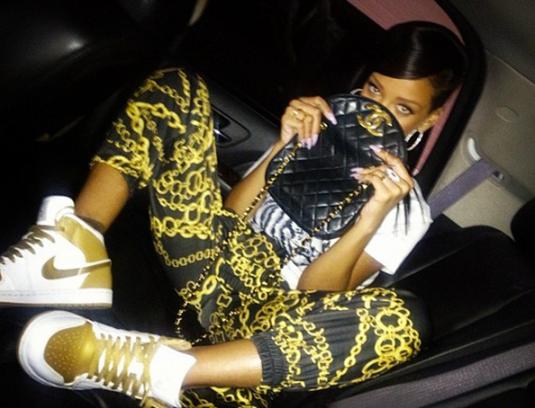 Rihanna Gold Air Jordan 1's